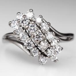 Low Profile Diamond Waterfall Ring 14k White Gold