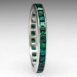 Vintage Lab Created Emerald Eternity Wedding Band Ring 10k