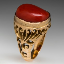 Natural Red Coral Cocktail Ring 18k