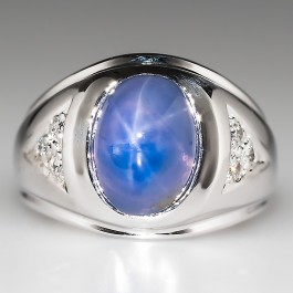 Vintage Mens 9 Carat Untreated Blue Star Sapphire Ring 14k