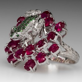 Michael Christoff Frog Ruby Cluster Cocktail Ring 18k
