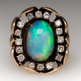 Vintage Opal Diamond Engagement Ring