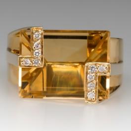 Fancy Cut Citrine Unique Cocktail Ring 18k Yellow Gold