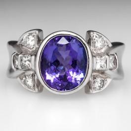 Laura Ramsey Tanzanite Ring Diamond Accents Platinum