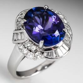 5 5 Carat Oval Tanzanite Diamond Cocktail Ring Platinum