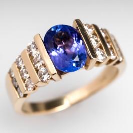 Oval Cut Tanzanite Ring Diamond Accents 14k Gold