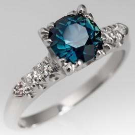 Vintage Teal Sapphire Ring 1950 S Platinum Diamond Mount