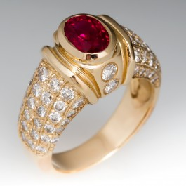 1 Carat Oval Ruby Ring Diamond Accents 14k Gold