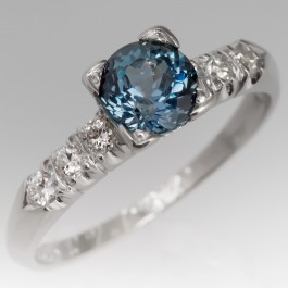 Peacock Blue Green Montana Sapphire Engagement Ring