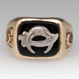 Men's Black Onyx Shriner Ring 10K Yellow Gold