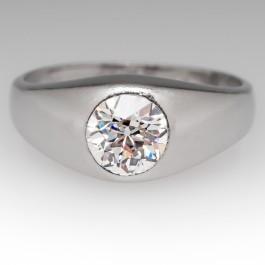 Antique Mens Old European Cut Diamond Ring Gypsy Set 1926