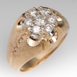 Mens Retro 14k Yellow Gold Diamond Cluster Ring