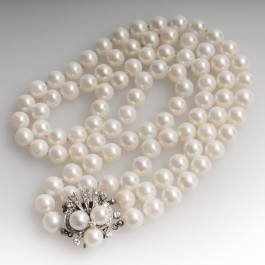 15 Inch Vintage Two Strand Pearl Amp Diamond Choker Necklace
