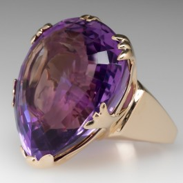 Large Amethyst Solitaire Cocktail Ring 14k Yellow Gold
