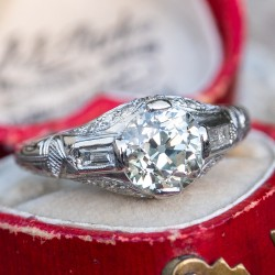 Antique 1930's Diamond Engagement Ring Platinum 1.63Ct Old Euro