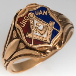 "Vintage Mens Fraternal Ring ""JRO UAM"""