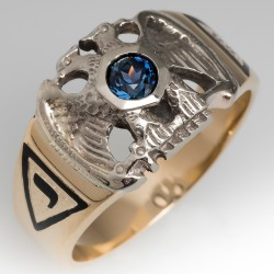 Vintage Masonic Mens Ring with Teal Sapphire 14K Gold