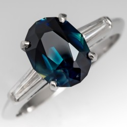 No Heat Blue Green Sapphire Engagement Ring Platinum Baguette Diamonds