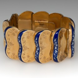 French Victorian Bracelet Floral Hand Engravings & Enamel 14K Gold