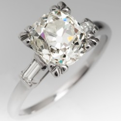 2 Carat Heirloom Old Mine Cut Diamond Engagement Ring Vintage Fishtail Mounting