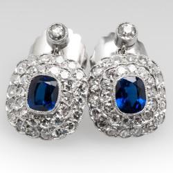 Vivid Blue Sapphire & Diamond Dangle Earrings Platinum