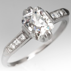 GIA 1 Carat Old Mine Cut Diamond Antique Engagement Ring