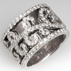 Wide Band Scroll Motif Diamond Band Ring 14K White Gold