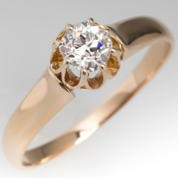 Late Victorian Era Old Mine Cut Diamond Solitaire Ring 14K Gold