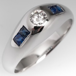 Vintage Bezel Set Diamond & Blue Sapphire Ring 18K White Gold