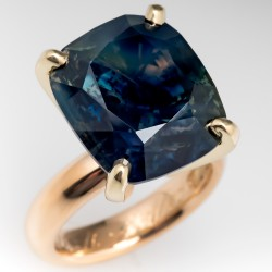 22 Carat No Heat Bi-Color Blue Green Sapphire Cocktail Ring 18K