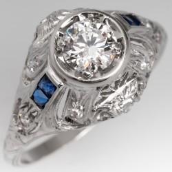 Art Deco Engagement Ring 1/2 Carat F/VVS2 Round Brilliant Diamond