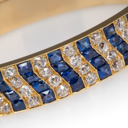 Beautiful Old Euro Diamond & Sapphire Bangle Bracelet 18K Yellow Gold