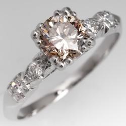 Vintage 1 Carat Vibrant Brownish Diamond Engagement Ring Platinum