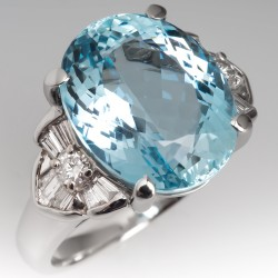 9 Carat Aquamarine Vintage Cocktail Ring Platinum