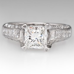 GIA 1.7 Carat G/VS2 Princess Cut Diamond Engagement Ring 18K Gold