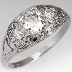 Edwardian Era 1920's Old European Cut Diamond Ring Platinum Filigree