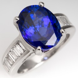 6.5 Carat Oval Tanzanite & Baguette Diamond Cocktail Ring
