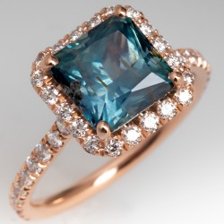 No Heat Natural Montana Sapphire Ring 14K Rose Gold Diamond Halo