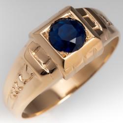 Mens 1950's 10K Yellow Gold Ring w/ No Heat Dark Blue Green Sapphire