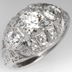 Art Deco Transitional Cut Diamond Engagement Ring Platinum Filigree