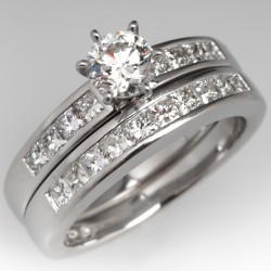 Modern Diamond Engagement Ring Wedding Set Platinum Channel Set