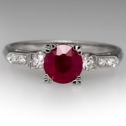Vintage 1 Carat Ruby Engagement Ring Platinum w/ Diamonds