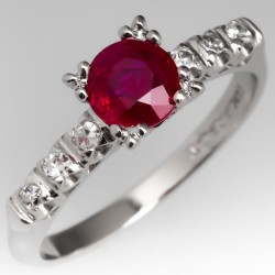 1 Carat Ruby Engagement Ring 1960s Platinum w/ Diamonds