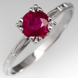 Ruby Solitaire Engagement Ring in Fishtail Head on Engraved Band 18K