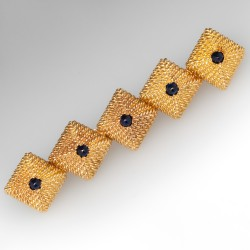 1970's Vintage Brooch Pin Textured 14K Gold Set with Created Sapphire Cabochons