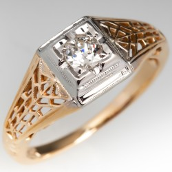Delicate 1950's Filigree Engagement Ring Old Euro 14K