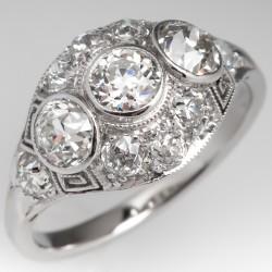 Three Stone Bezel Art Deco Filigree Diamond Engagement Ring