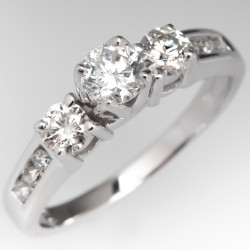 Modern Three Stone Round Brilliant Diamond Engagement Ring 14K