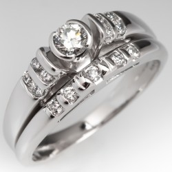 Diamond Engagement Ring Fused Wedding Set 14K White Gold