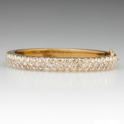 Stunning 4 Total Carat VS Diamond Bangle Bracelet 14K Gold